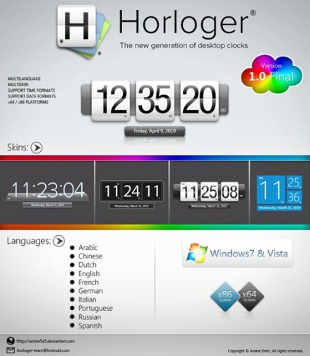 horloger v1 0 Widget Multi skin Digital Clock Untuk Windows