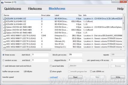 Parkdale BlockAccess Mengukur Baca dan Tulis Kecepatan Hard Disk, Drives CD dan Network