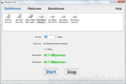 Parkdale QuickAccess Mengukur Baca dan Tulis Kecepatan Hard Disk, Drives CD dan Network